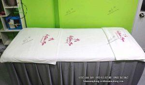 Mẫu khăn trải giường Á Châu Spa – Trắng – Microfiber
